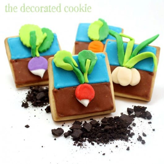Shared at Ruffles and Rain Boots: Earth Day Vegetable Garden cookies from The Decorated Cookie