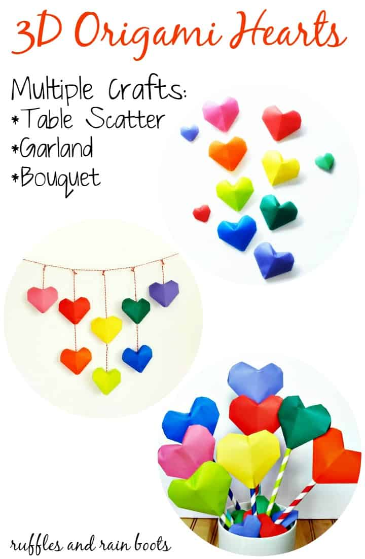 Origami-Heart-Bouquet-Garland-and-Table-Scatter Origami Heart Bouquet and Garland