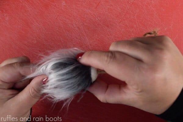 how to make a gnome christmas ornament step 5 glue faux fur beard to bead