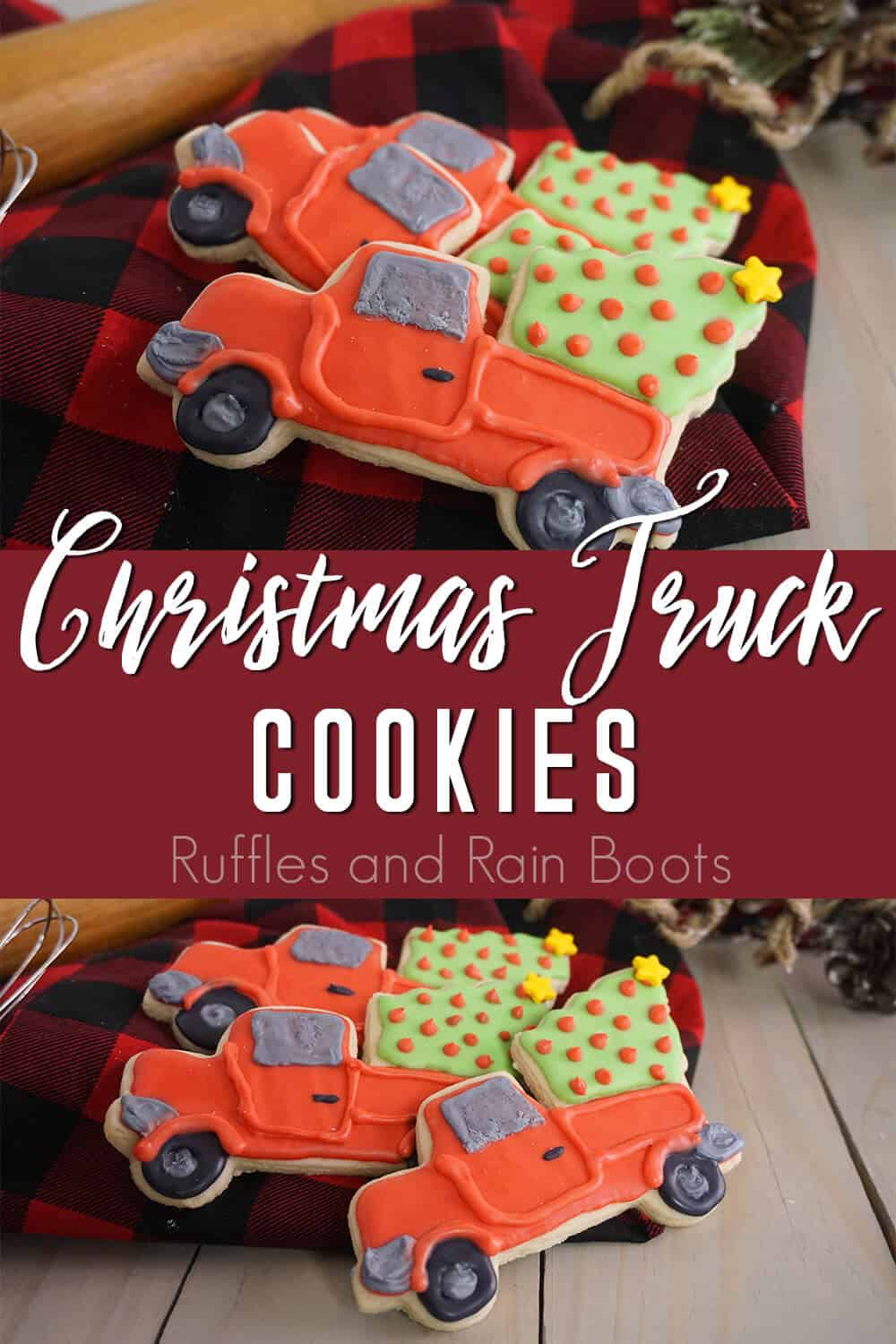 photo collage of cookies for a cookie exchange party with text which reads christmas truck cookies