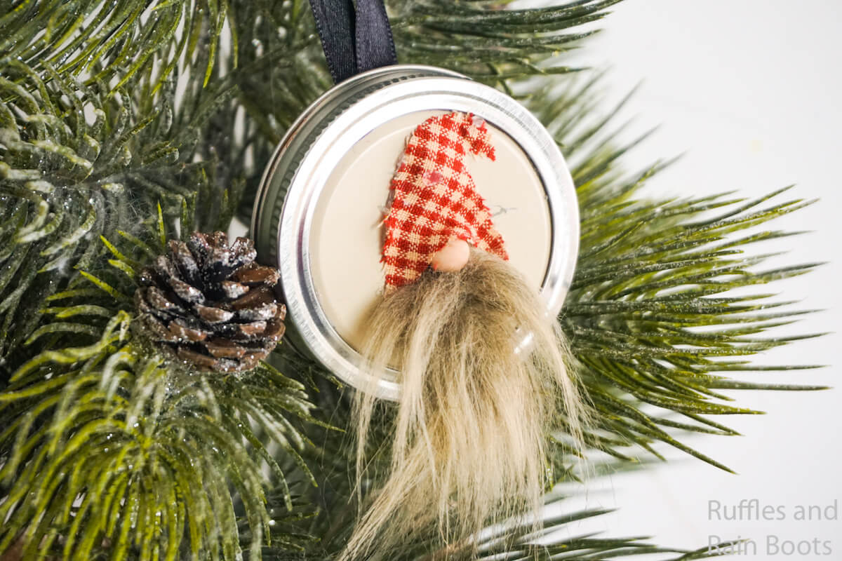 Mason Jar Lid Gnome Ornament