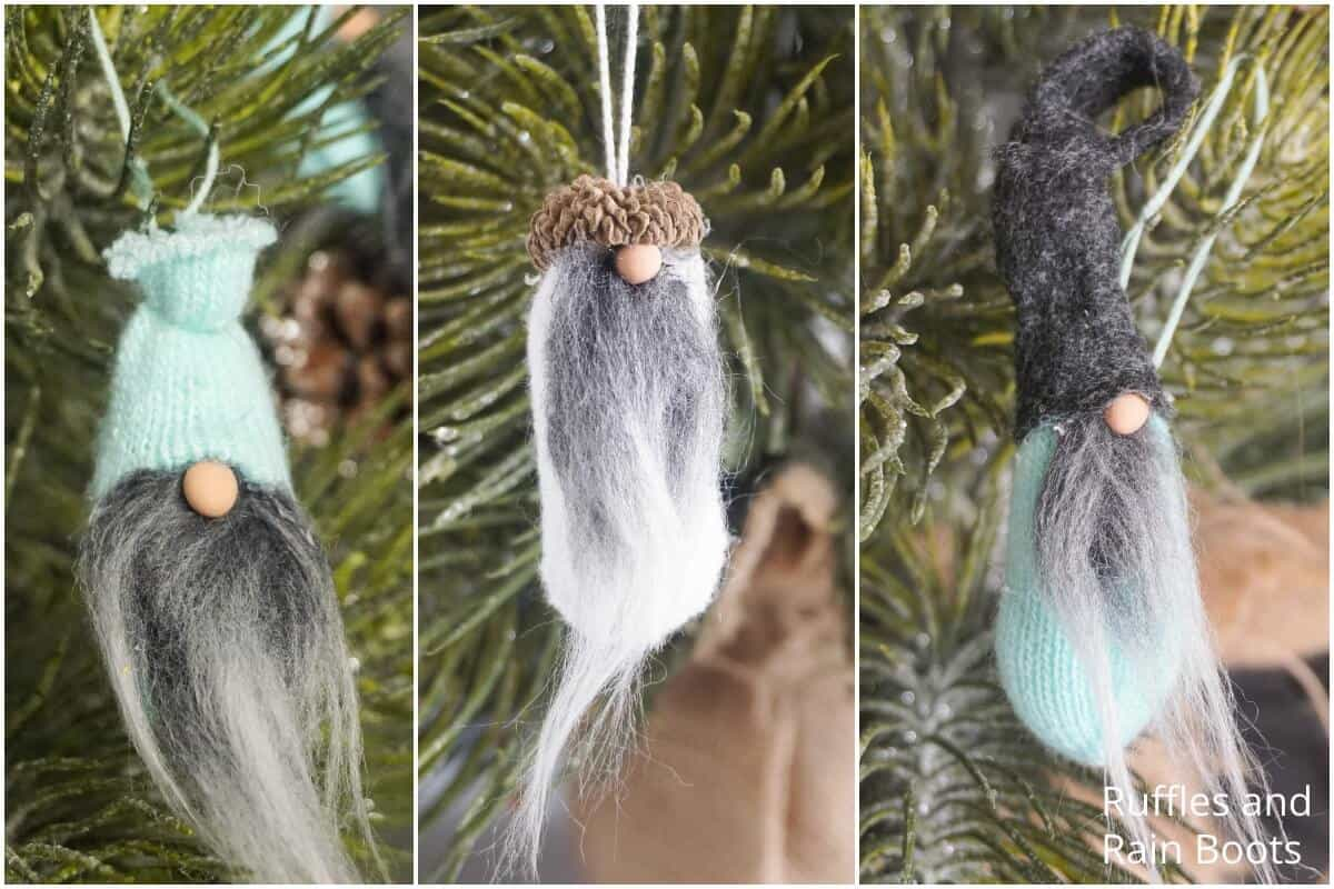 Mini Gnome Ornaments from Glove Fingers - 3 Ways!