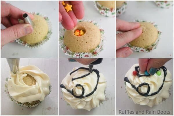 photo collage of how to make christmas lights cupcakes for a party