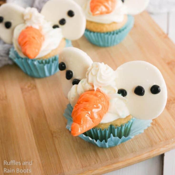 Olaf Mickey Ear Cupcakes