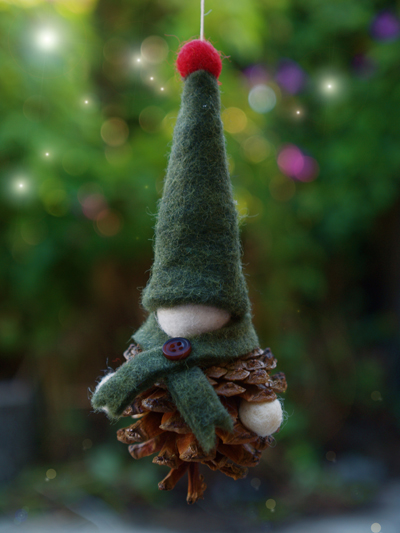 Pine Cone and Felt Gnome Christmas Ornament