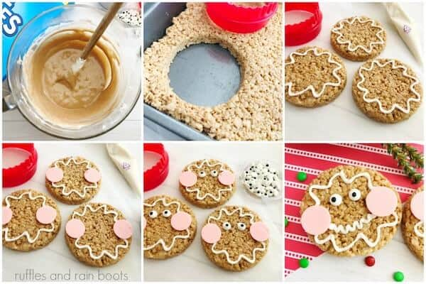 photo collage tutorial of How to Make Gingerbread Rice Krispies Treats