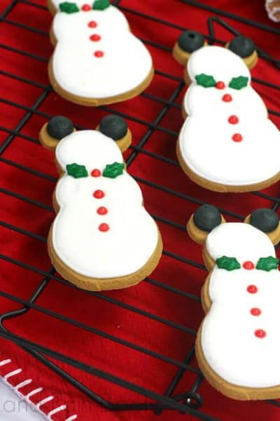 Mickey Mouse Gingerbread Snowman Cookies Disney Christmas on a red linen
