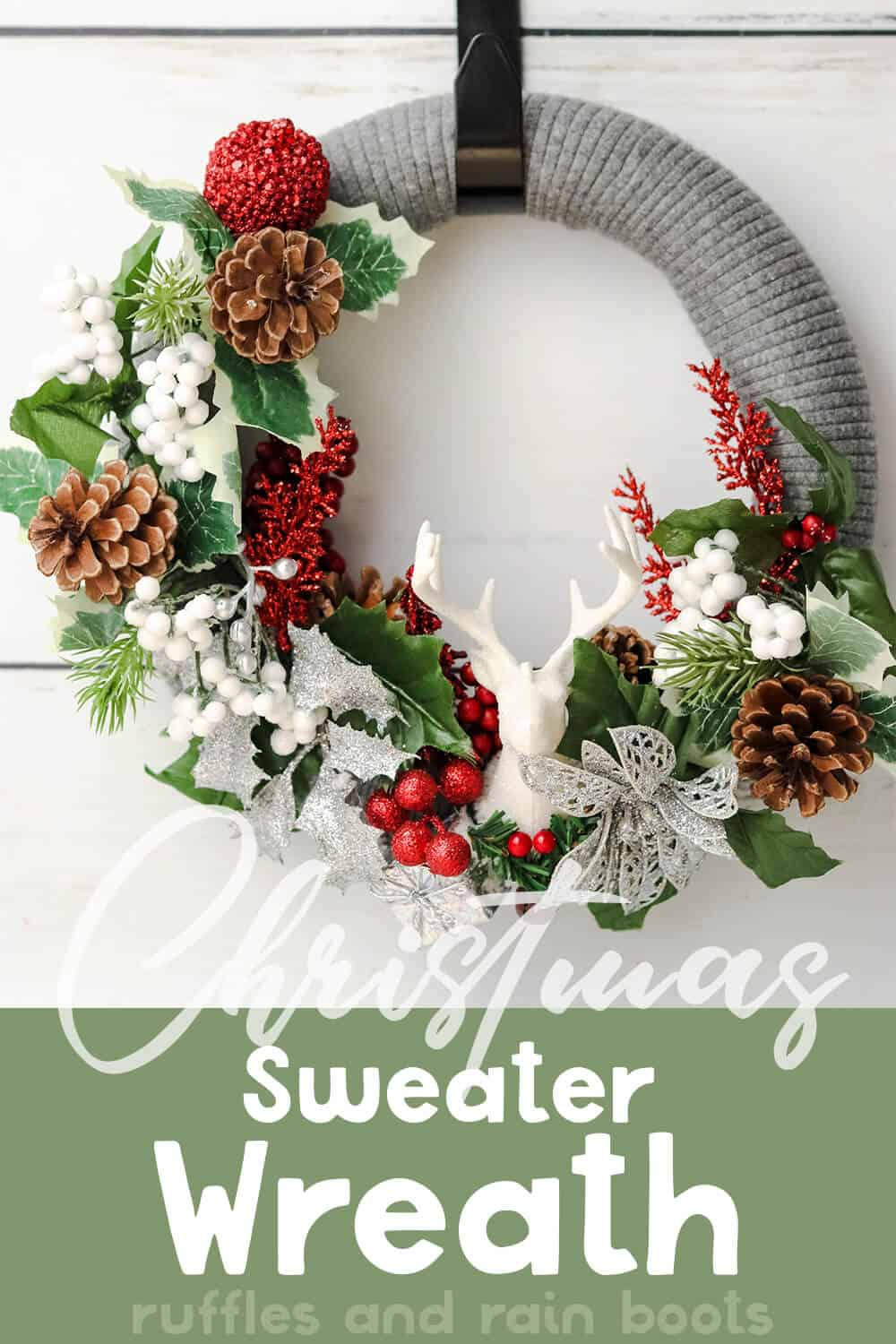 front view of an easy diy holiday wreath with text which reads christmas sweater wreath