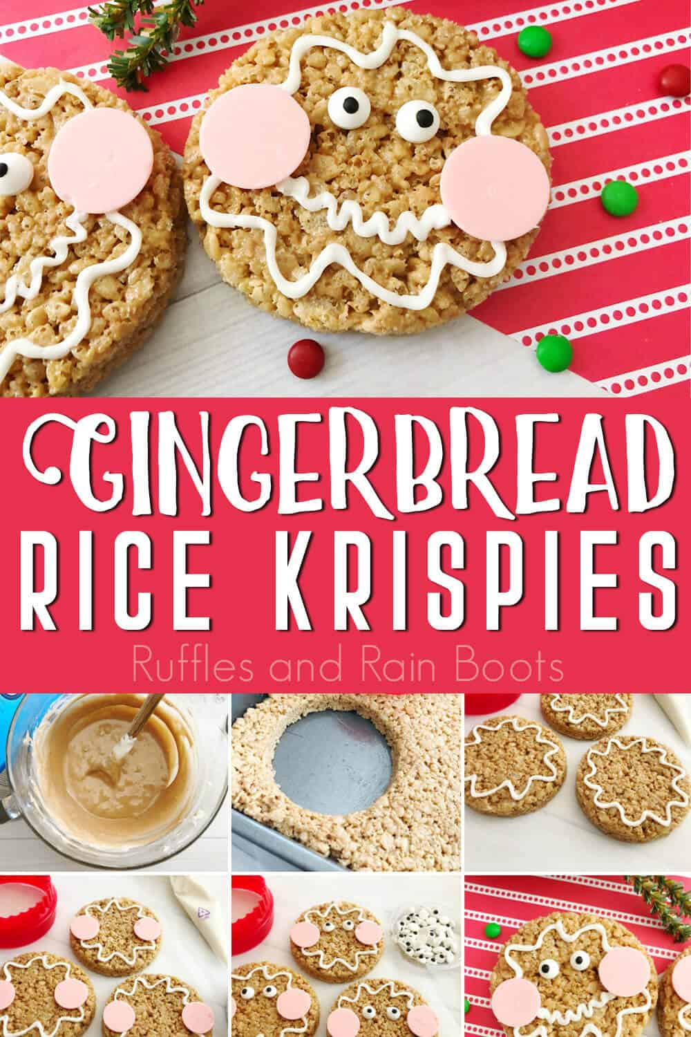 photo collage of easy christmas rice krispies for kids with text which reads gingerbread rice krispies recipe