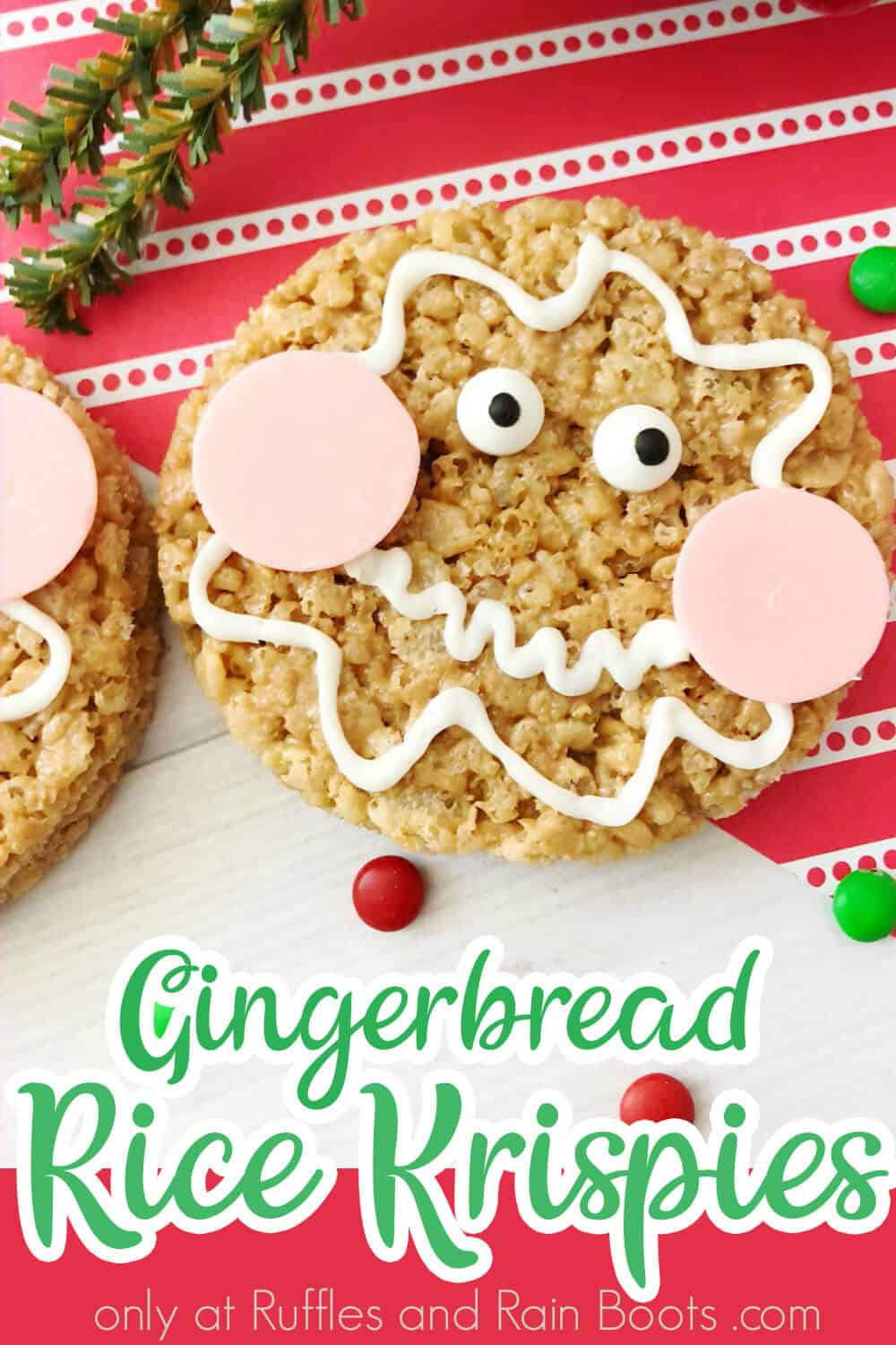 overhead view of rice krispies treats for christmas with text which reads gingerbread rice krispies