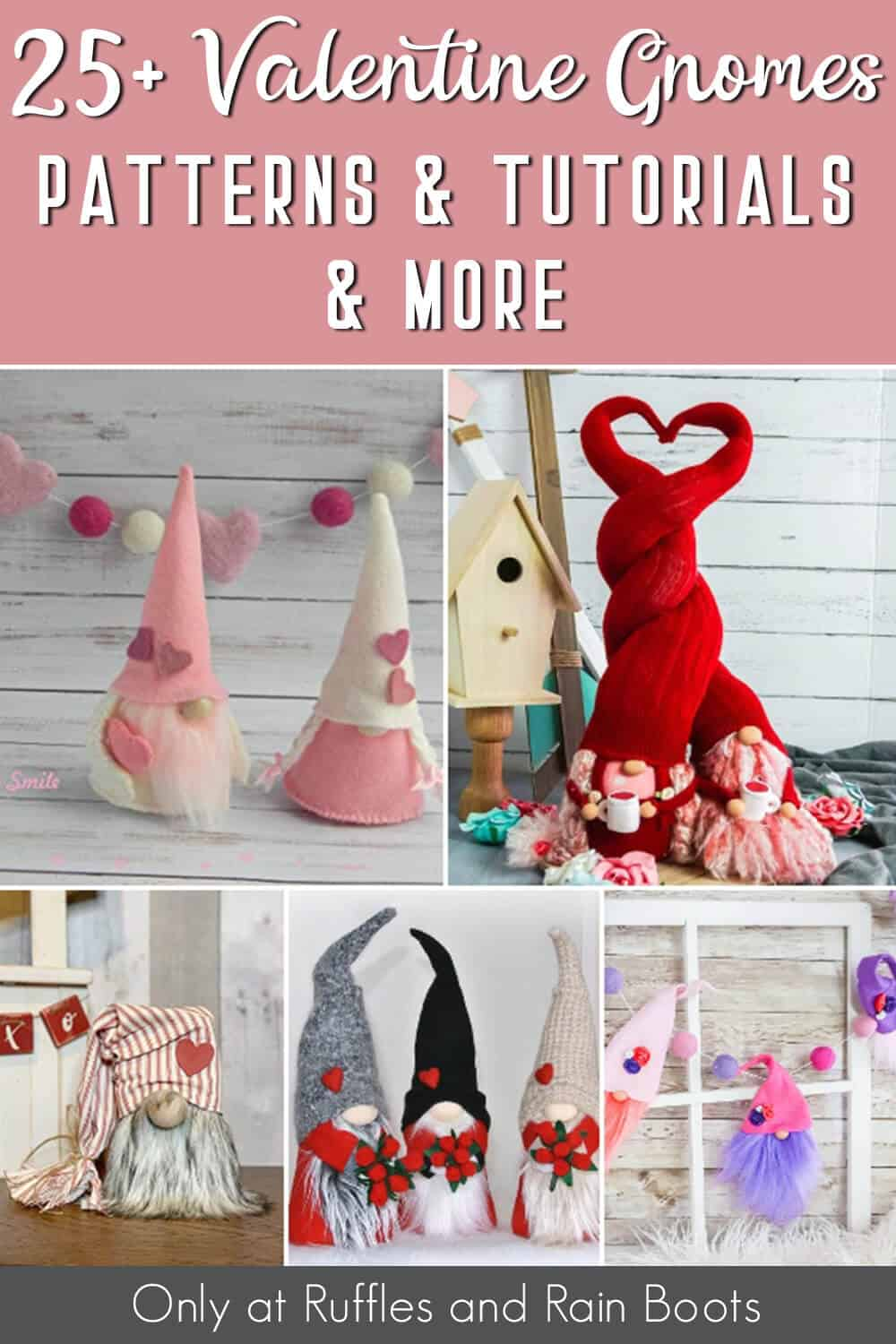 photo collage of valentine gnome tutorials with text which reads 25+ valentine gnomes pattern & tutorials & more