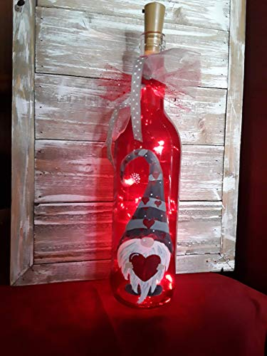 Valentine's Day Gnome Wine Bottle Painted Decoration