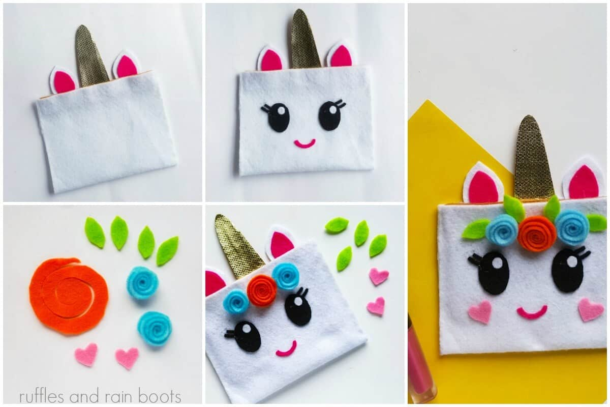 photo collage tutorial of How to make a Unicorn Pouch Collage 2