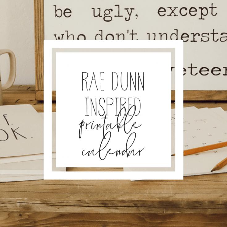 Rae Dunn Inspired 2020 Printable Calendar