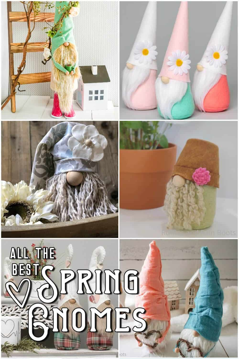 photo collage of spring farmhouse gnomes with text which reads all the best spring gnomes