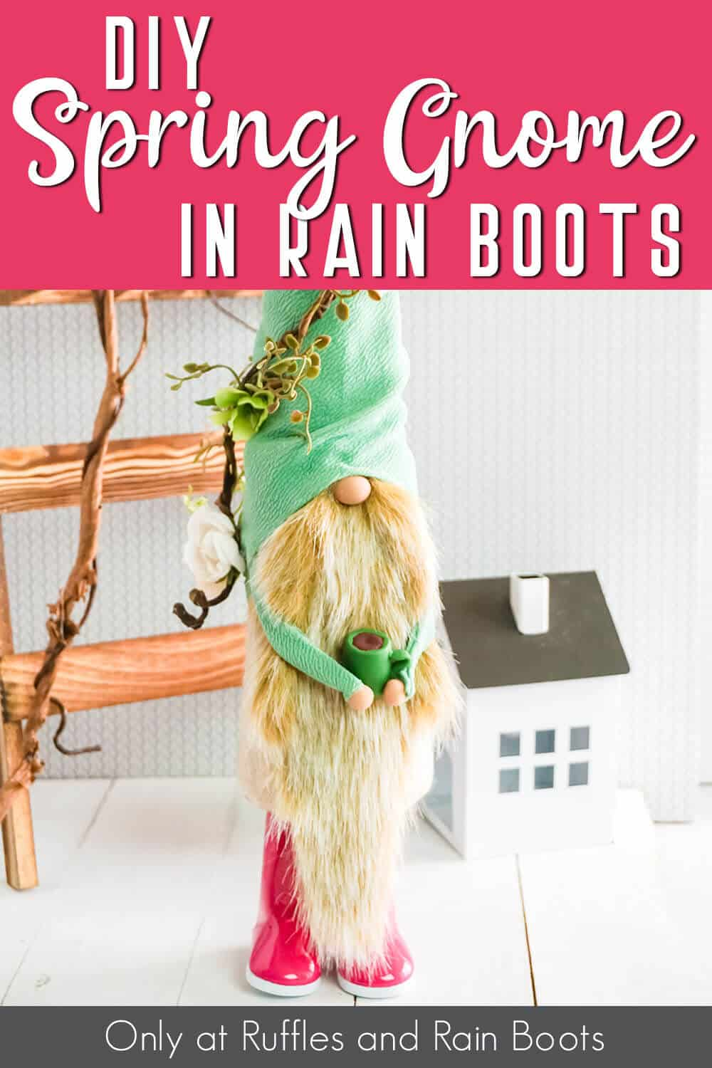 gnome with a coffee cup with text which reads diy spring gnome in rain boots