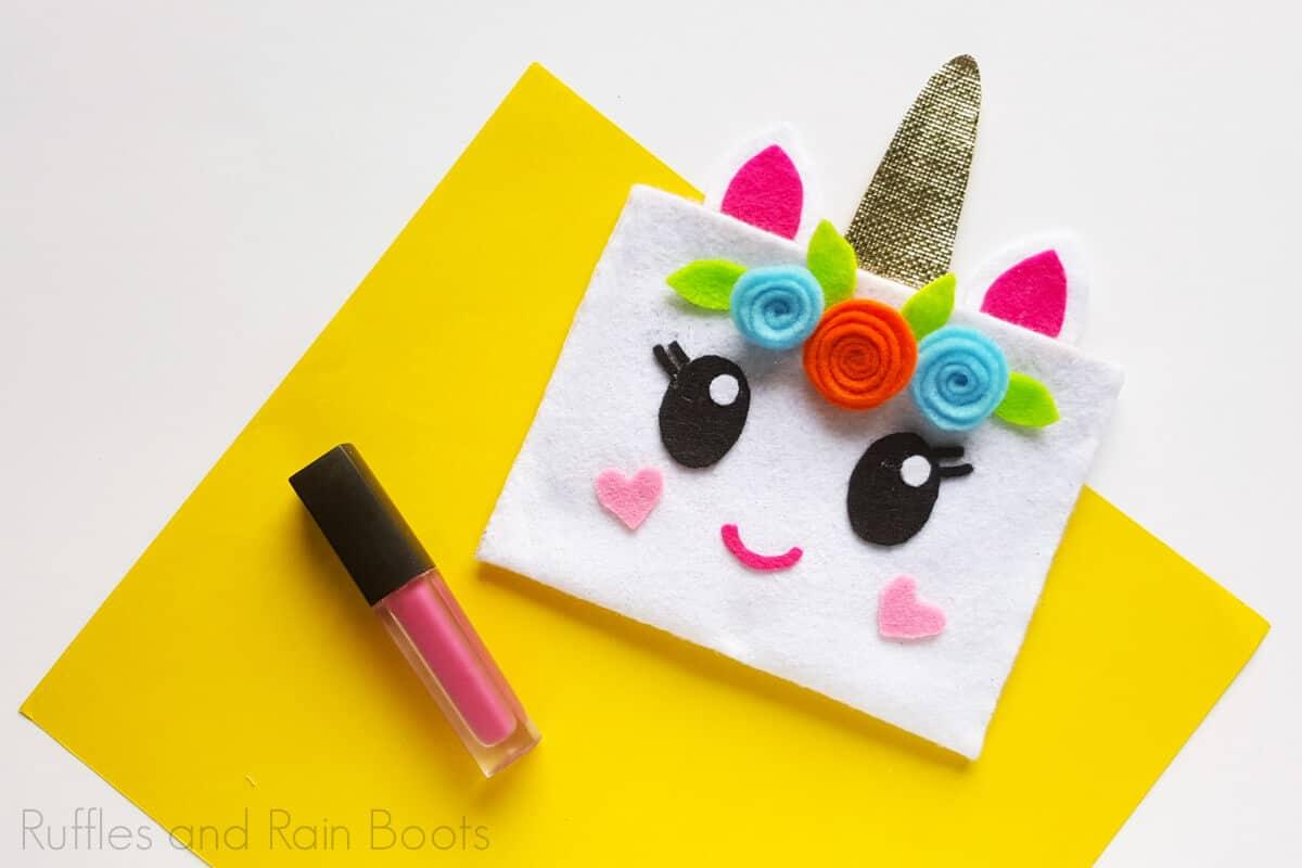 easy unicorn pouch craft idea
