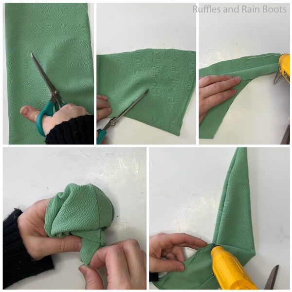 photo collage tutorial of how to make a cone gnome with rain boots