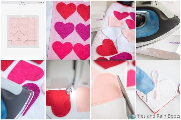 photo collage tutorial of how to make a diy valentines garland with free cut file