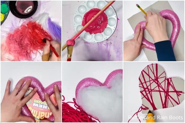 photo collage tutorial of how to make a gnome valentine wreath