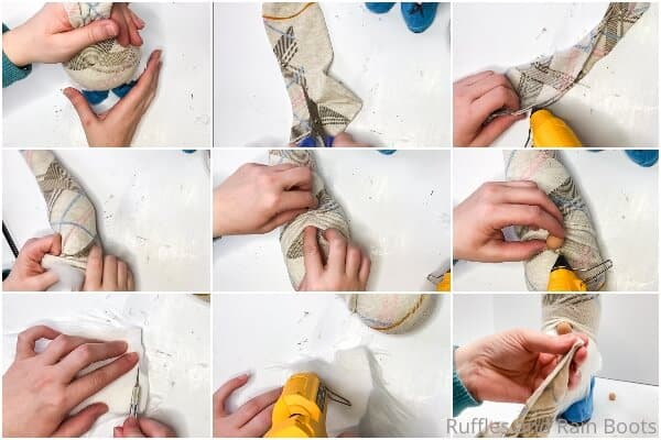 photo collage tutorial of how to make a gnome with boots for spring
