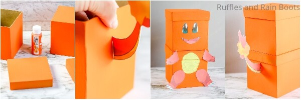 photo collage tutorial of how to make a pokemon valentines charmander
