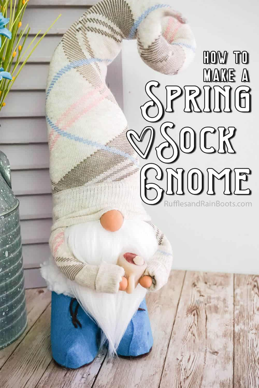 front view of a spring gnome for farmhouse decor with text which reads how to make a spring sock gnome