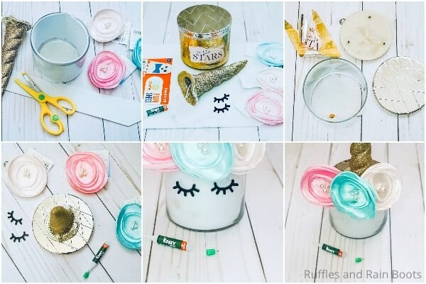 photo collage tutorial of how to make a unicorn candle