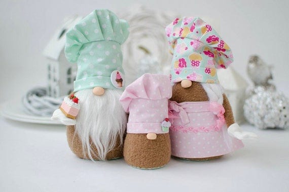 The Family that Bakes Together Valentine Gnomes