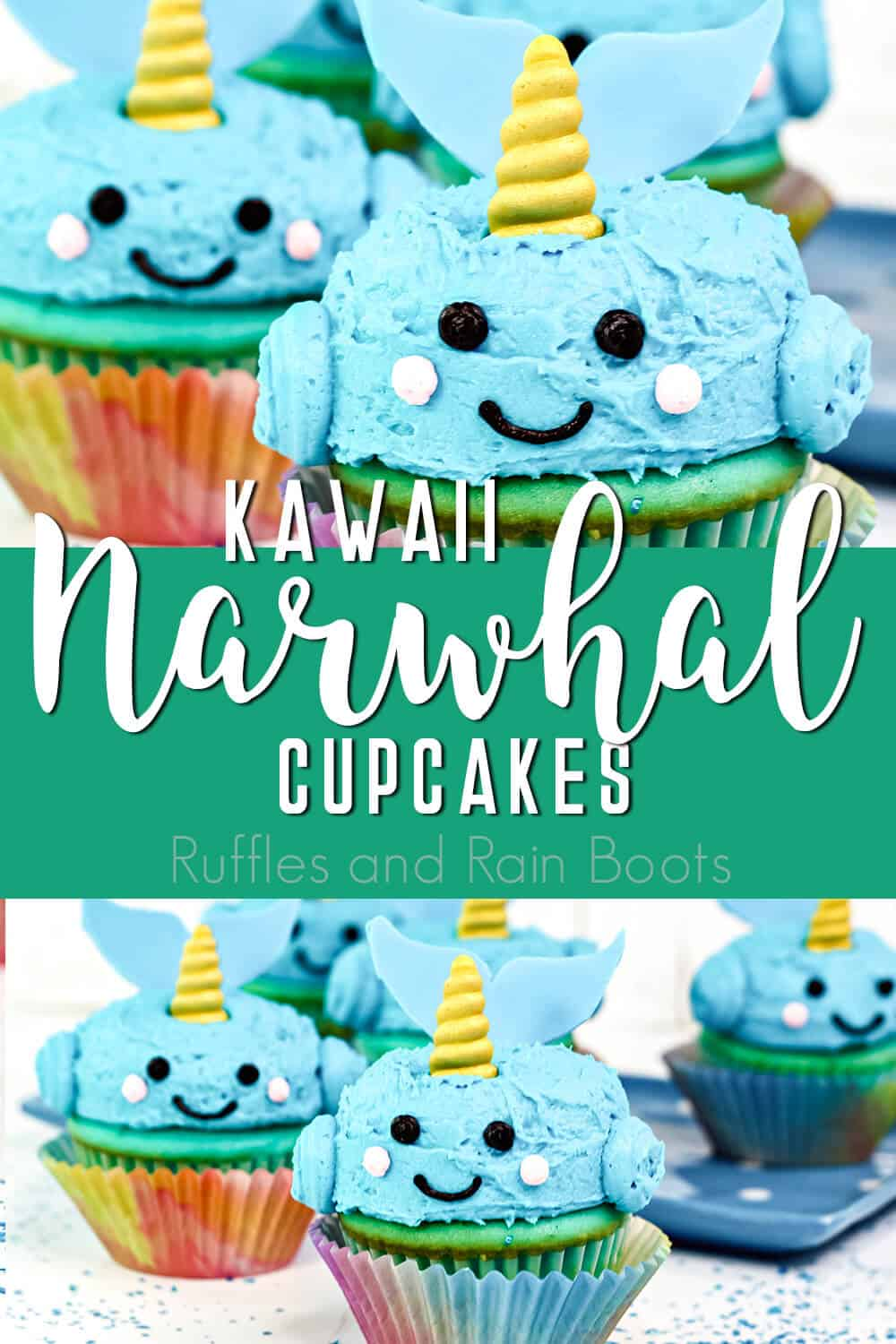 photo collage of ocean party cupcakes with text which reads kawaii narwhal cupcakes