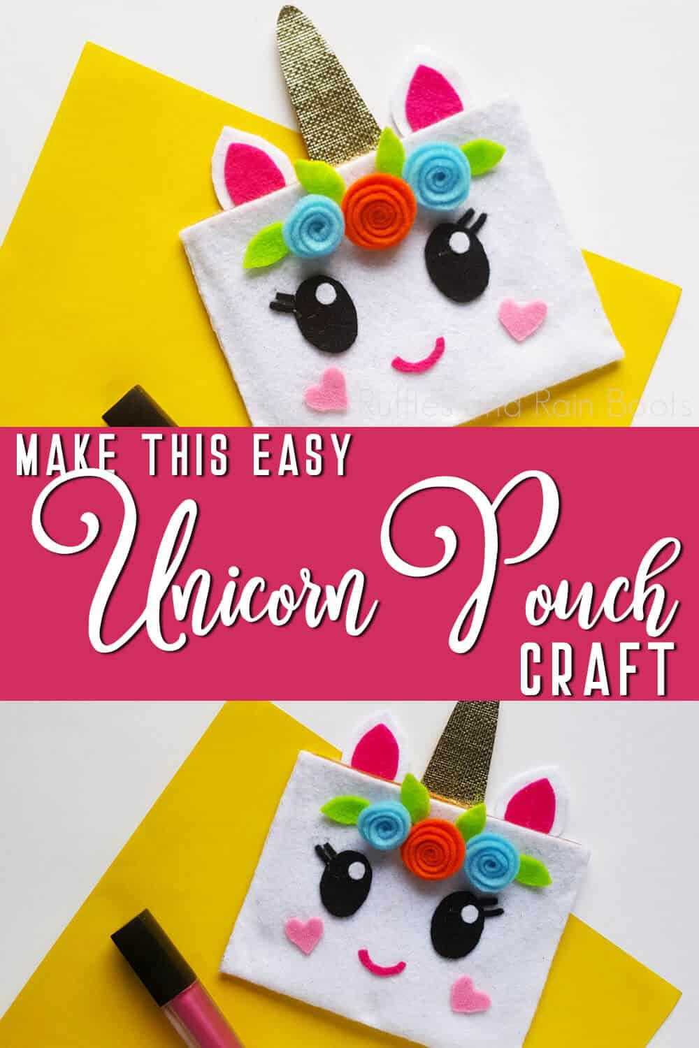 photo collage of easy unicorn makeup bag craft with text which reads make this easy unicorn pouch craft