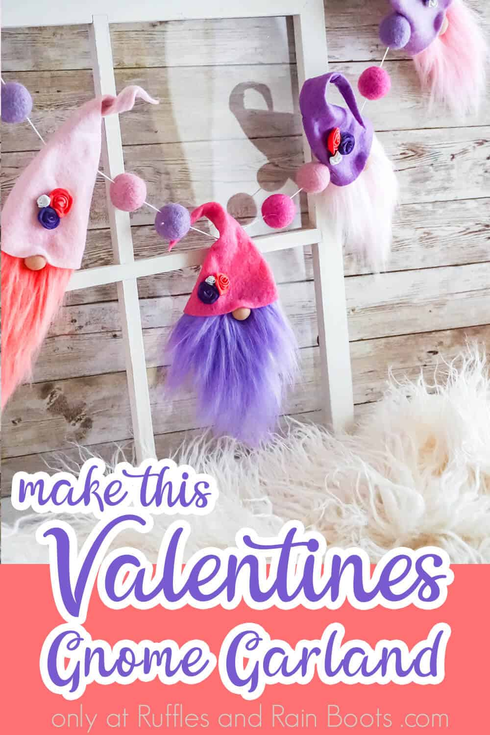 gnome valentine garland with text which reads make this valentines gnome garland