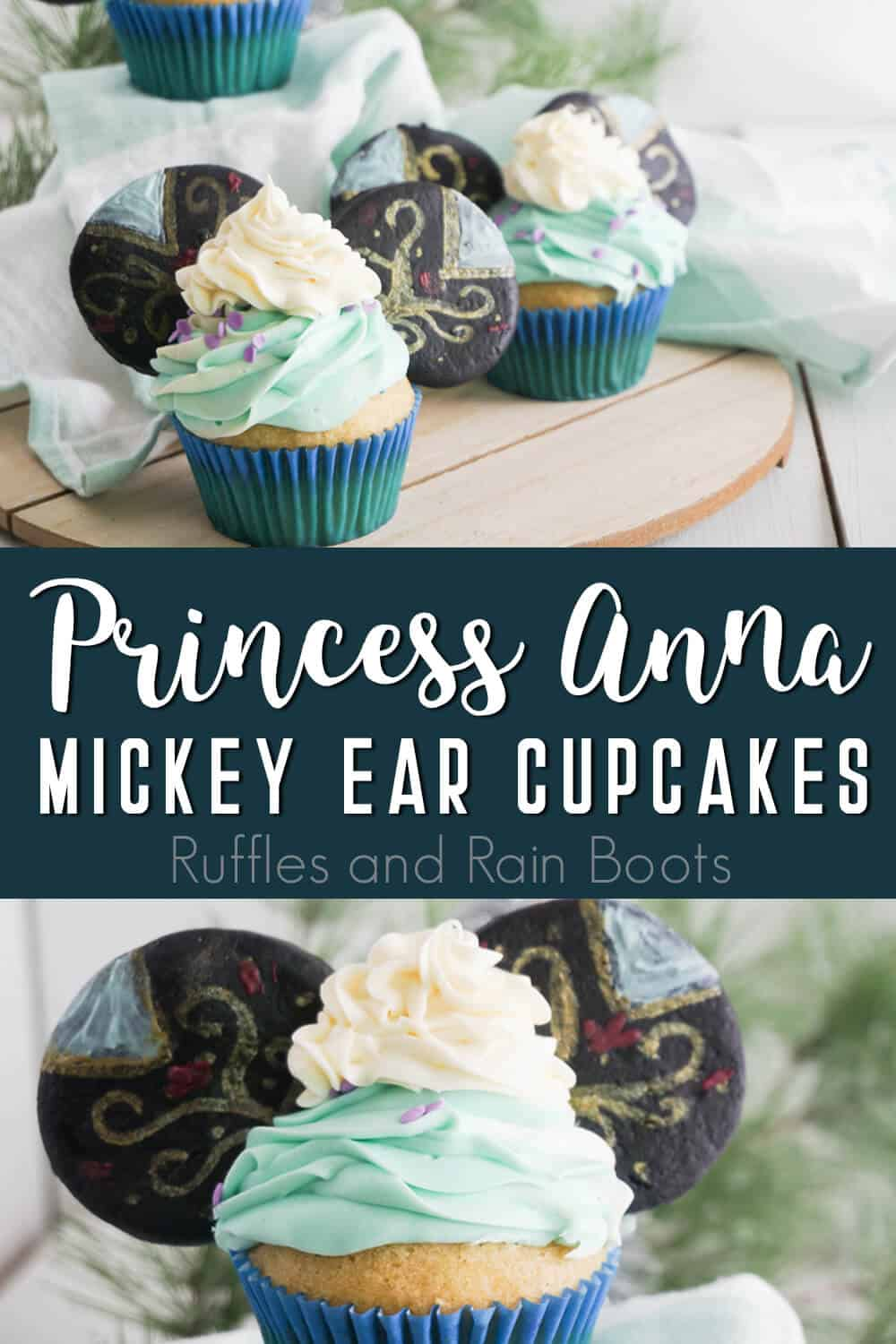 photo collage of frozen cupcakes for a frozen party with text which reads princess anna mickey ear cupcakes