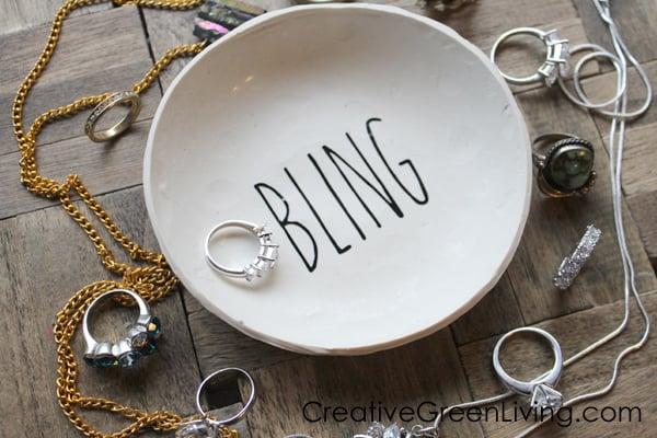 DIY Rae Dunn Inspired Bling Ring Dish