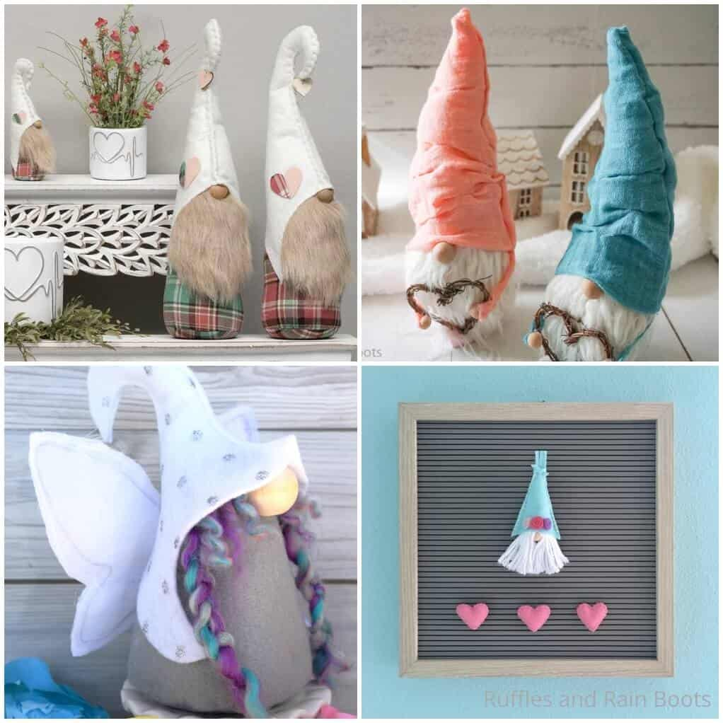 photo collage of spring gnomes for a farmhouse tiered tray display