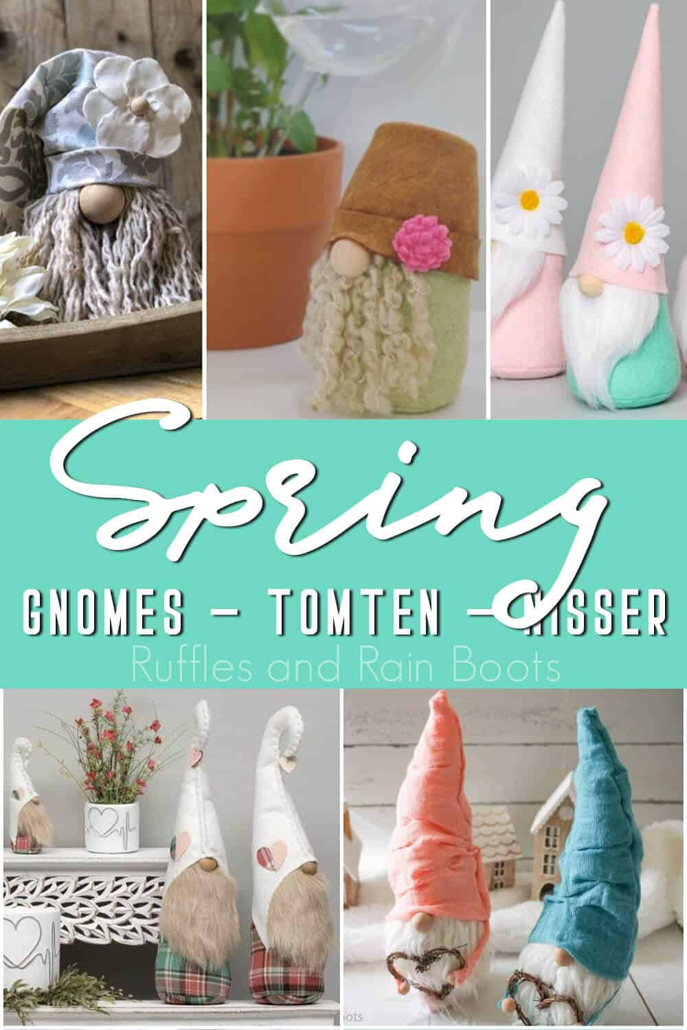 photo collage of farmhouse gnomes for spring with text which reads spring gnomes tomten nisser