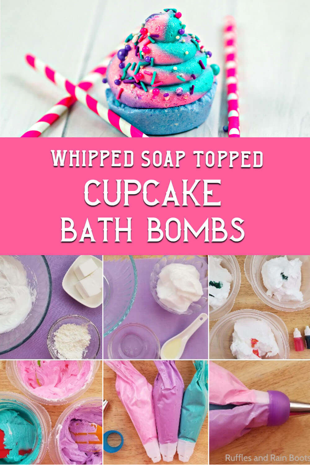 photo collage of whipped soap and bath bomb with text which reads whipped soap topped cupcake bath bombs