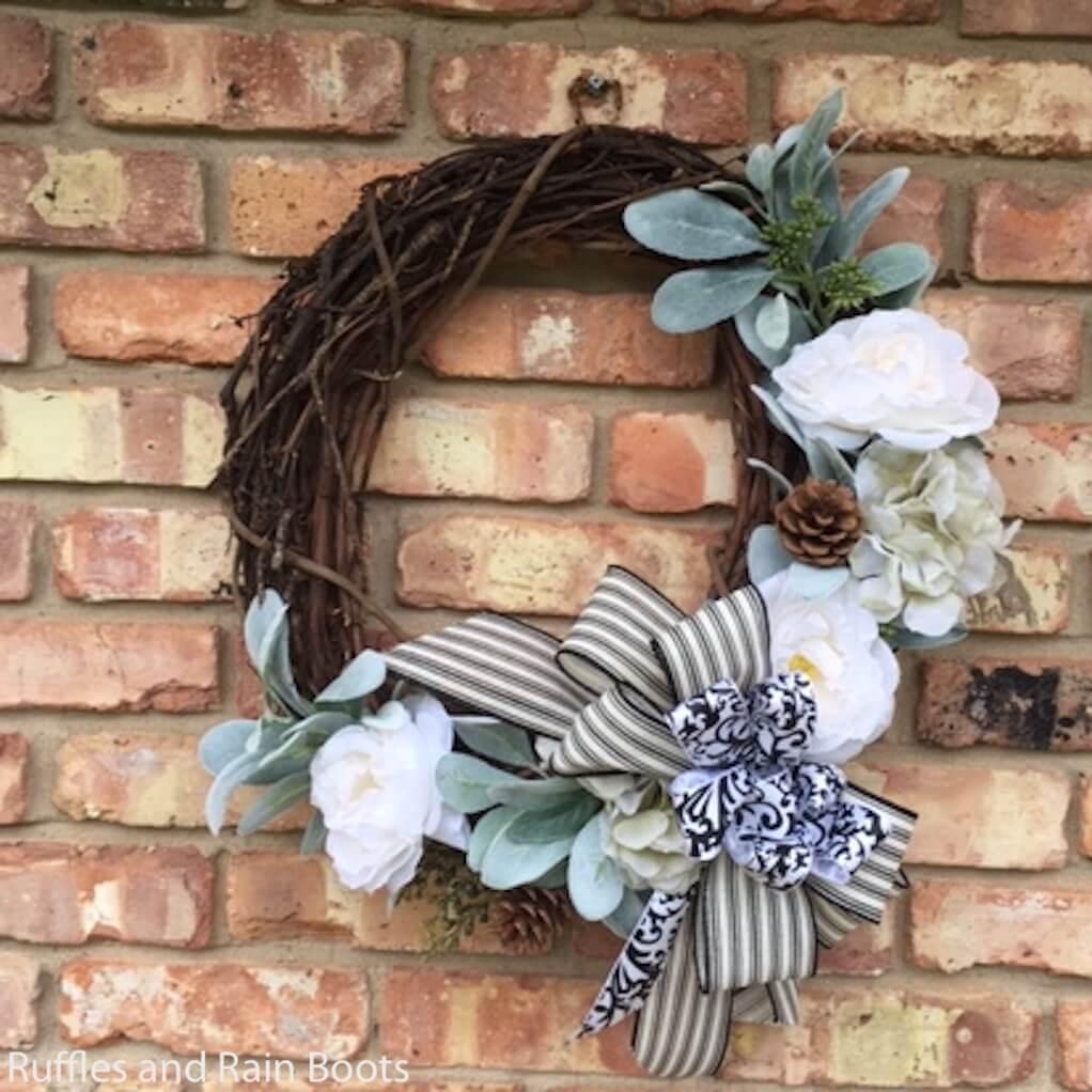 simple spring wreath for farmhouse decor