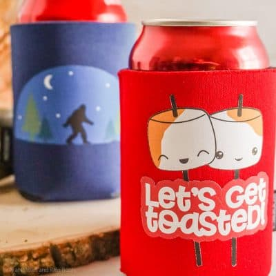 Make These Fun Camping Koozies with the EasyPress Mini and Printable Vinyl in Minutes!