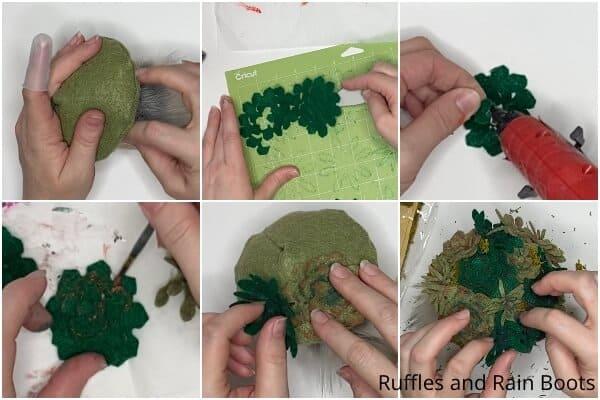 tutorial de collage de fotos de cómo hacer un gnomo con un suculento sombrero