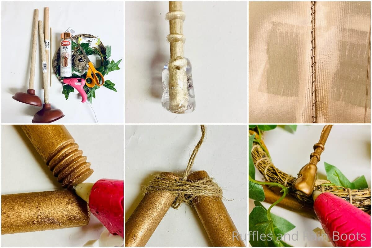tutorial de collage de fotos de cómo hacer una manualidad de árbol de dólar con corona de harry potter
