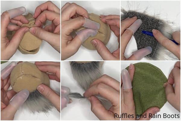 tutorial de collage de fotos de cómo hacer un patrón de gnomo suculento